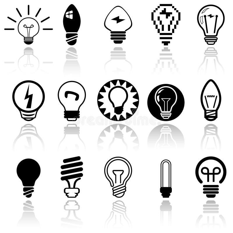 Διανυσματικά εικονίδια λαμπών φωτός καθορισμένα. EPS 10. διανυσματική απεικόνιση