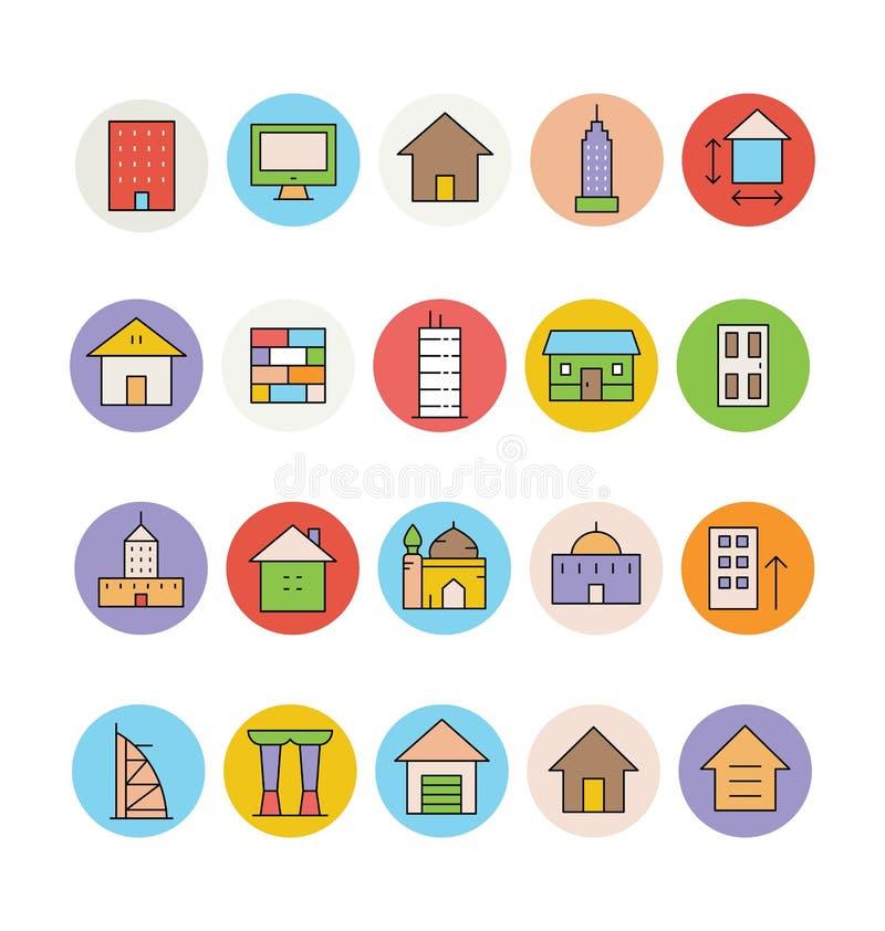 Διανυσματικά εικονίδια 3 αρχιτεκτονικής και κτηρίων διανυσματική απεικόνιση