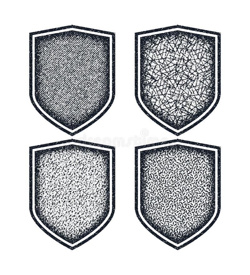 Διανυσματικά εικονίδια ασπίδων καθορισμένα μαύρα σύμβολα απεικόνιση αποθεμάτων