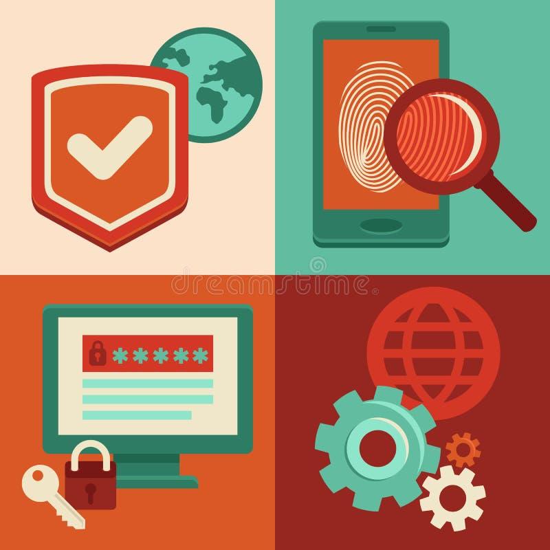 Διανυσματικά εικονίδια ασφάλειας Διαδικτύου στο επίπεδο ύφος απεικόνιση αποθεμάτων