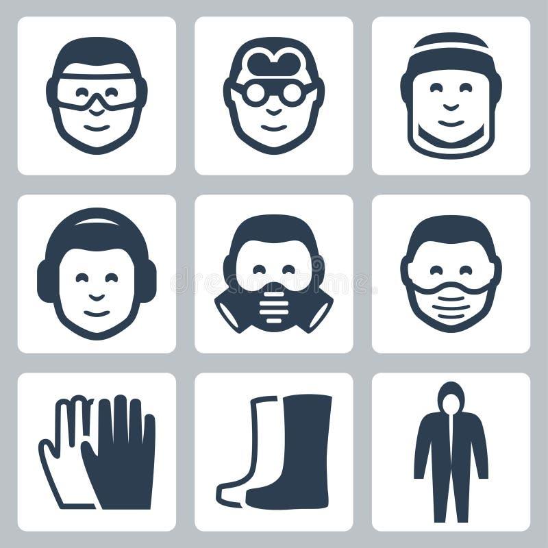 Διανυσματικά εικονίδια ασφάλειας εργασίας διανυσματική απεικόνιση