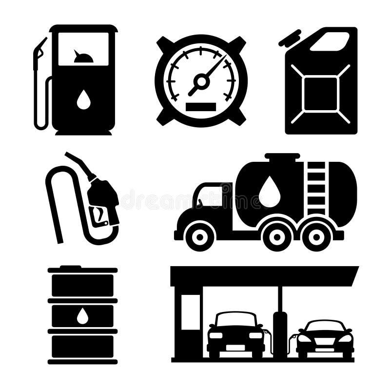 Διανυσματικά εικονίδια βενζινάδικων ελεύθερη απεικόνιση δικαιώματος