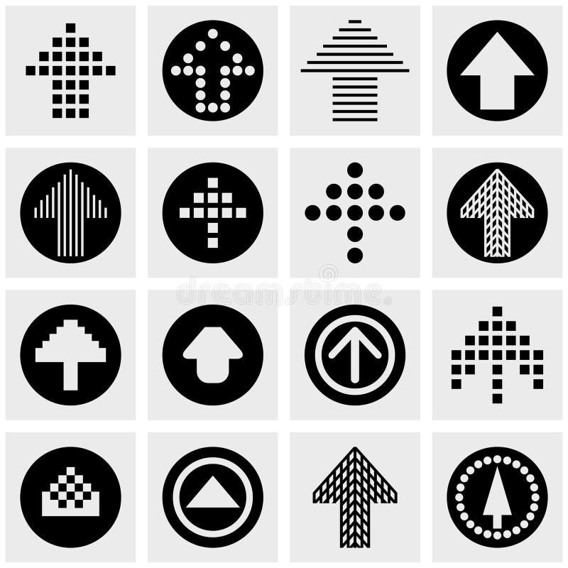 Διανυσματικά εικονίδια βελών που τίθενται σε γκρίζο ελεύθερη απεικόνιση δικαιώματος