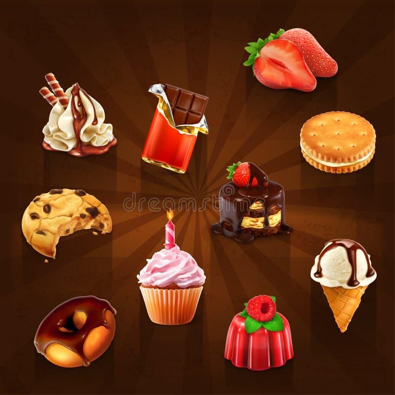 Διανυσματικά εικονίδια βιομηχανιών ζαχαρωδών προϊόντων ελεύθερη απεικόνιση δικαιώματος