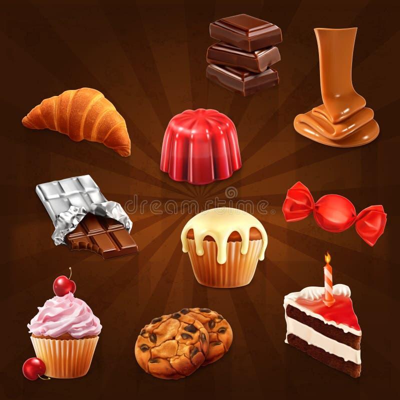Διανυσματικά εικονίδια βιομηχανιών ζαχαρωδών προϊόντων απεικόνιση αποθεμάτων