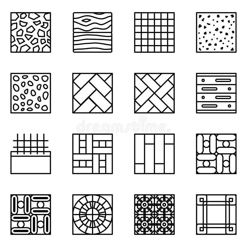 Διανυσματικά εικονίδια γραμμών πατωμάτων υλικά ελεύθερη απεικόνιση δικαιώματος