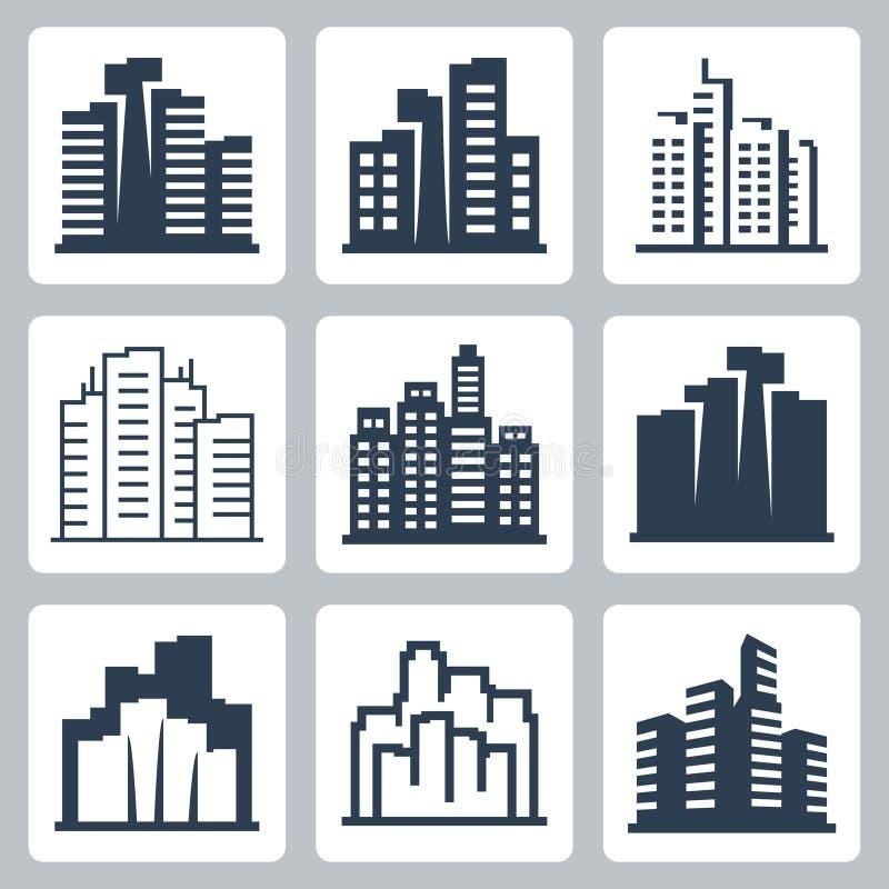 Διανυσματικά εικονίδια εικονικής παράστασης πόλης απεικόνιση αποθεμάτων