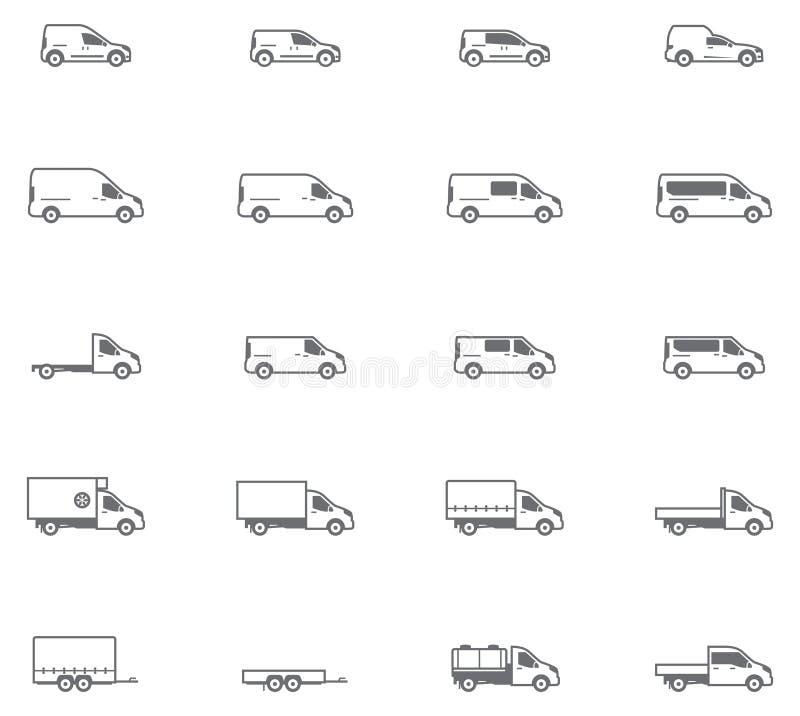 Διανυσματικά εικονίδια εμπορικών μεταφορών διανυσματική απεικόνιση