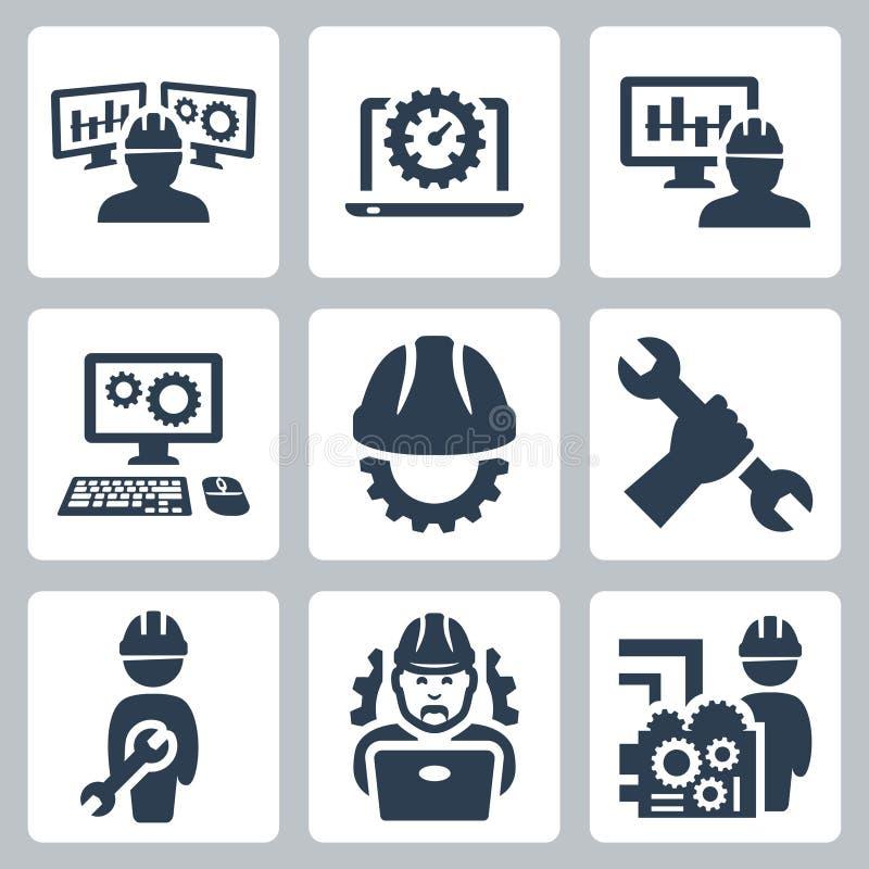 Διανυσματικά εικονίδια εφαρμοσμένης μηχανικής ελεύθερη απεικόνιση δικαιώματος