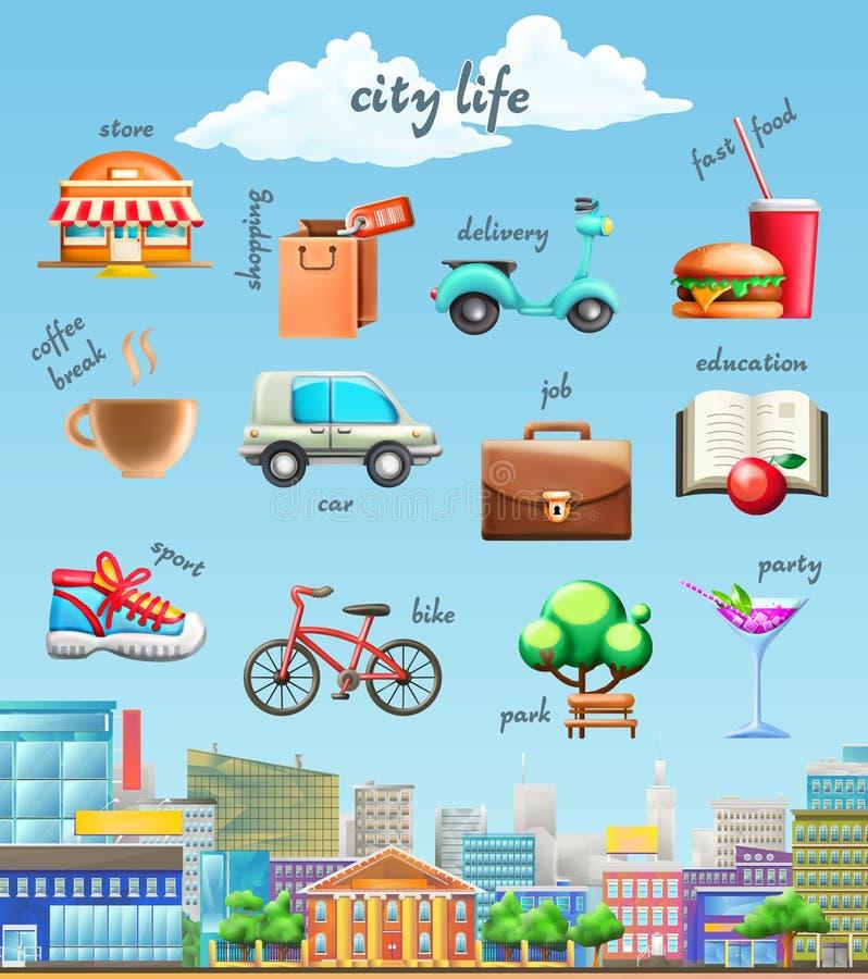 Διανυσματικά εικονίδια ζωής πόλεων απεικόνιση αποθεμάτων