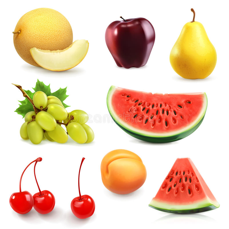 Διανυσματικά εικονίδια θερινών φρούτων ελεύθερη απεικόνιση δικαιώματος