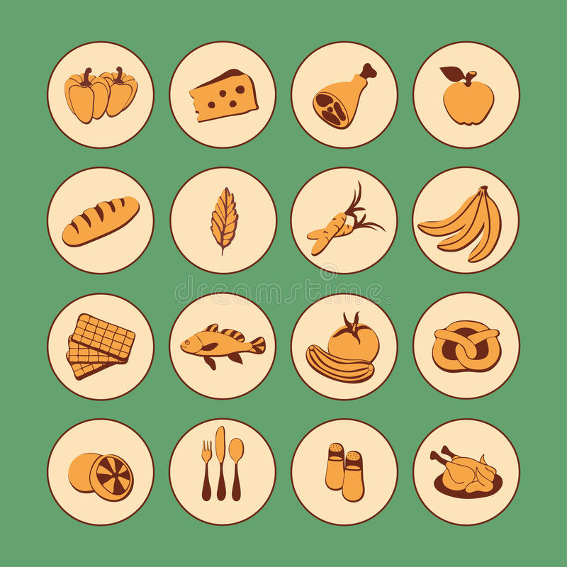 Διανυσματικά εικονίδια Ιστού συνόλου επίπεδα με τα τρόφιμα Τα συρμένα εκλεκτής ποιότητας τρόφιμα κινούμενων σχεδίων μακριά σκιάζο διανυσματική απεικόνιση