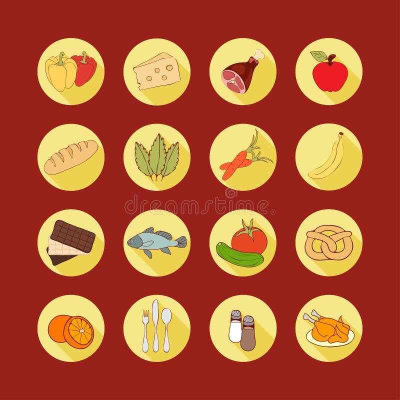 Διανυσματικά εικονίδια Ιστού συνόλου επίπεδα με τα τρόφιμα Τα συρμένα πολύχρωμα τρόφιμα κινούμενων σχεδίων μακριά σκιάζουν στο στ ελεύθερη απεικόνιση δικαιώματος