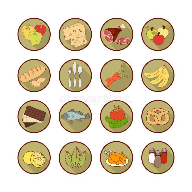 Διανυσματικά εικονίδια Ιστού συνόλου επίπεδα με τα τρόφιμα Τα συρμένα πολύχρωμα τρόφιμα κινούμενων σχεδίων μακριά σκιάζουν στο στ απεικόνιση αποθεμάτων