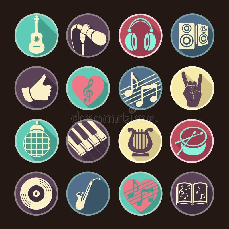 Διανυσματικά εικονίδια Ιστού συνόλου μουσικά επίπεδα Πολύχρωμος με τη μακριά σκιά για Διαδίκτυο, κινητά apps, σχέδιο διεπαφών διανυσματική απεικόνιση