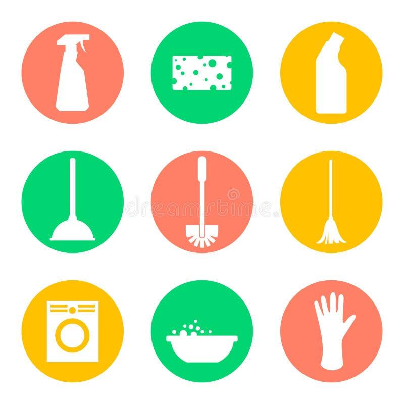 Διανυσματικά εικονίδια καθαρίζοντας προϊόντων Σφουγγάρι και πλύση ελεύθερη απεικόνιση δικαιώματος