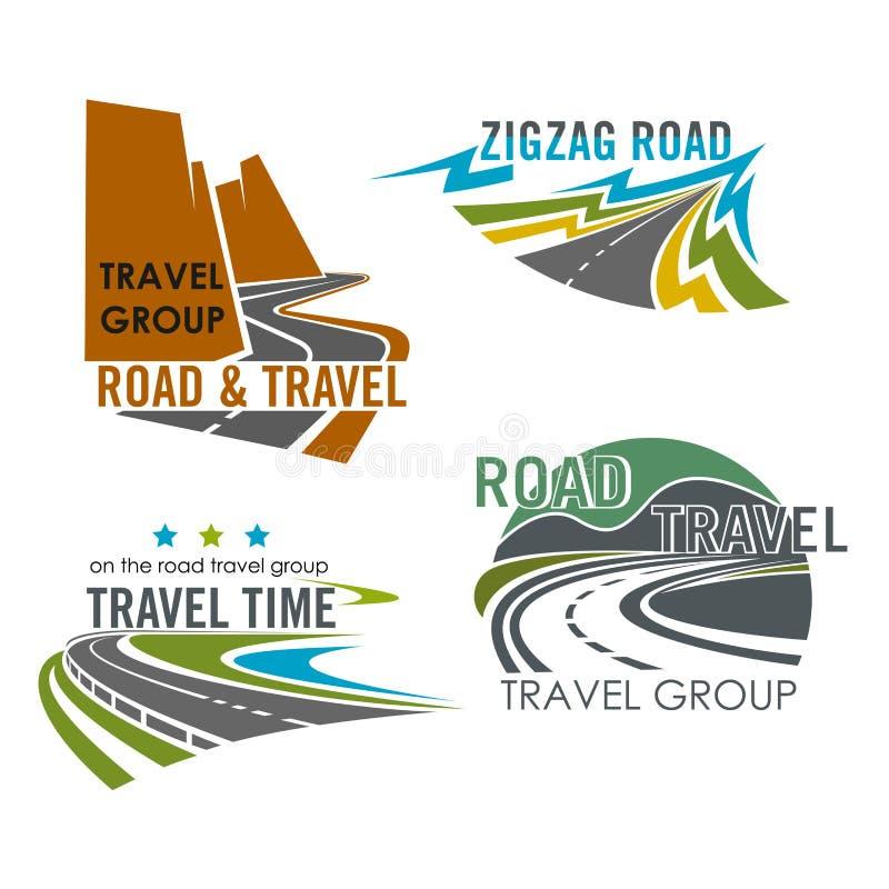 Διανυσματικά εικονίδια κατασκευής οδικών ταξιδιού ή εθνικών οδών διανυσματική απεικόνιση