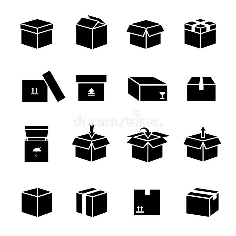 Διανυσματικά εικονίδια κιβωτίων καθορισμένα διανυσματική απεικόνιση