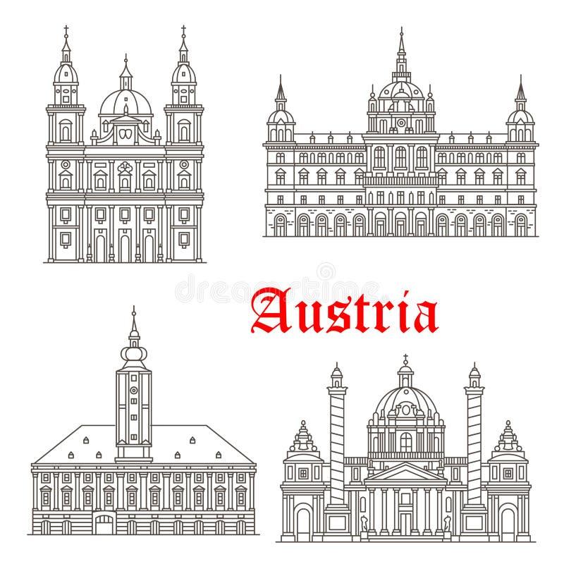 Διανυσματικά εικονίδια κτηρίων αρχιτεκτονικής της Αυστρίας διανυσματική απεικόνιση