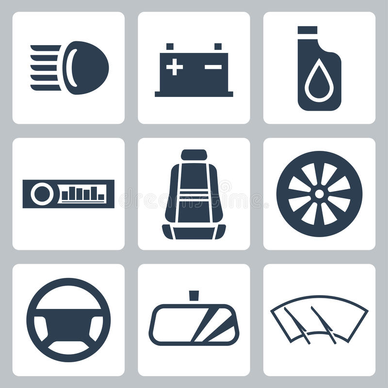 Διανυσματικά εικονίδια μερών αυτοκινήτου καθορισμένα διανυσματική απεικόνιση