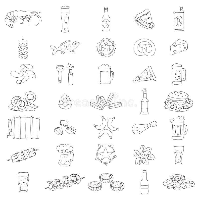 Διανυσματικά εικονίδια μπύρας διανυσματική απεικόνιση