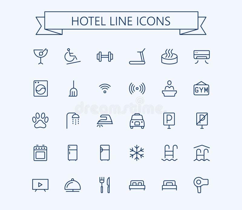 Διανυσματικά εικονίδια ξενοδοχείων καθορισμένα Λεπτό πλέγμα περιλήψεων 24x24 γραμμών Εικονοκύτταρο τέλειο ελεύθερη απεικόνιση δικαιώματος