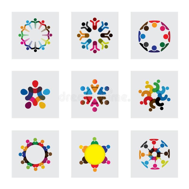 Διανυσματικά εικονίδια λογότυπων των ανθρώπων μαζί - σημάδι της ενότητας διανυσματική απεικόνιση