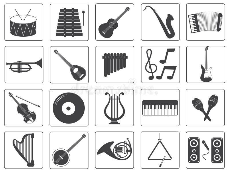Διανυσματικά εικονίδια οργάνων μουσικής καθορισμένα ελεύθερη απεικόνιση δικαιώματος