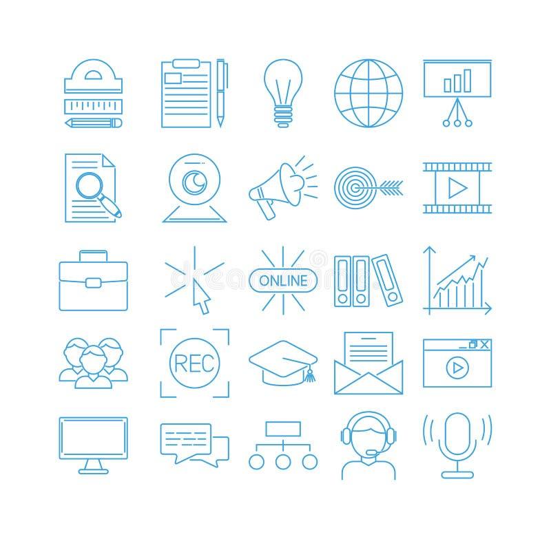 Διανυσματικά εικονίδια περιλήψεων επιχειρησιακής webinar και σε απευθείας σύνδεση εκπαίδευσης διανυσματική απεικόνιση