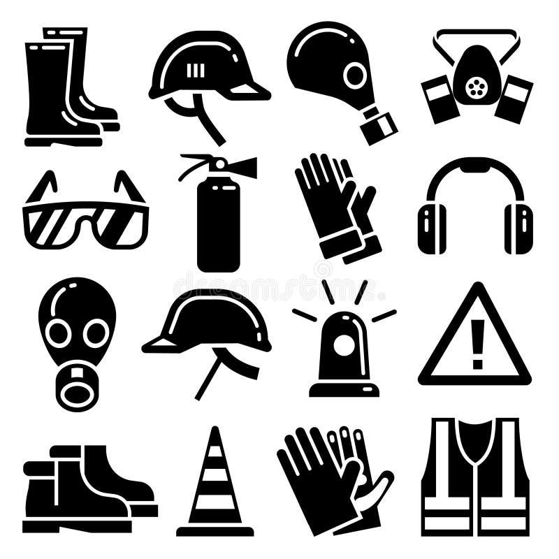 Διανυσματικά εικονίδια προσωπικού προστατευτικού εξοπλισμού καθορισμένα απεικόνιση αποθεμάτων