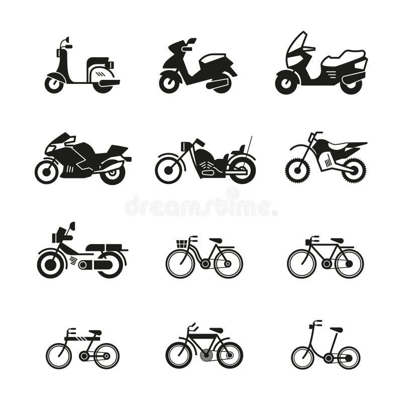Διανυσματικά εικονίδια σκιαγραφιών μοτοσικλετών, μοτοσικλετών, μηχανικών δίκυκλων, μπαλτάδων και ποδηλάτων ελεύθερη απεικόνιση δικαιώματος