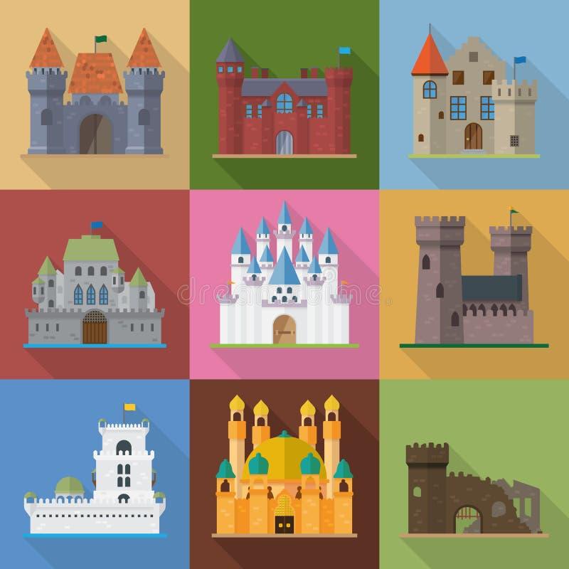 Διανυσματικά εικονίδια σχεδίου κάστρων και παλατιών επίπεδα απεικόνιση αποθεμάτων