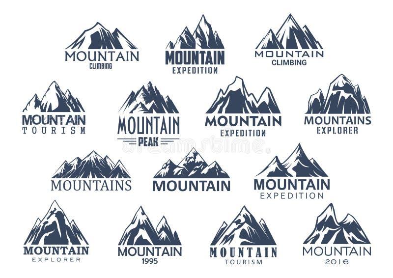 Διανυσματικά εικονίδια τουρισμού και αθλητισμού βουνών καθορισμένα διανυσματική απεικόνιση