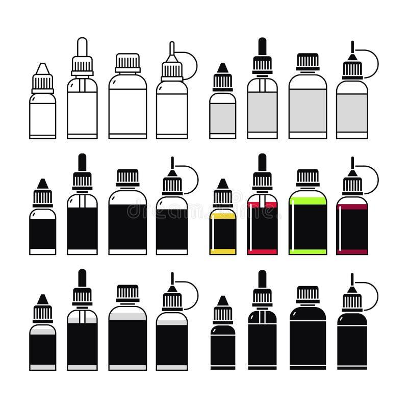 Διανυσματικά εικονίδια του ε-υγρού απεικόνιση αποθεμάτων