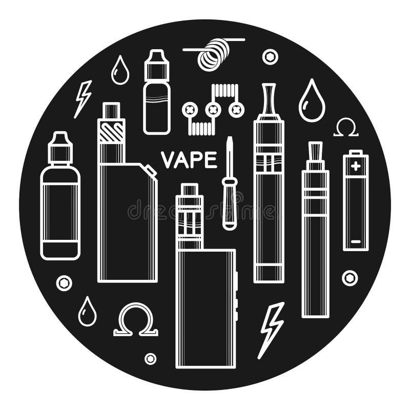 Διανυσματικά εικονίδια του vape απεικόνιση αποθεμάτων