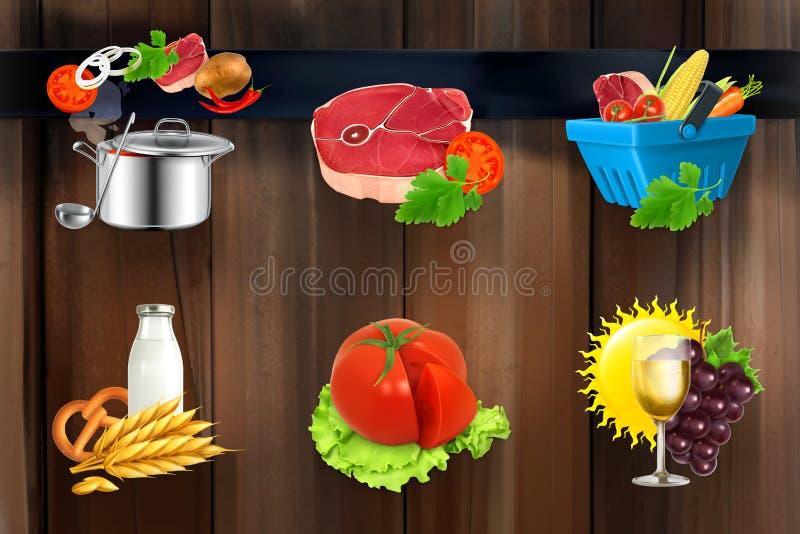 Διανυσματικά εικονίδια τροφίμων διανυσματική απεικόνιση