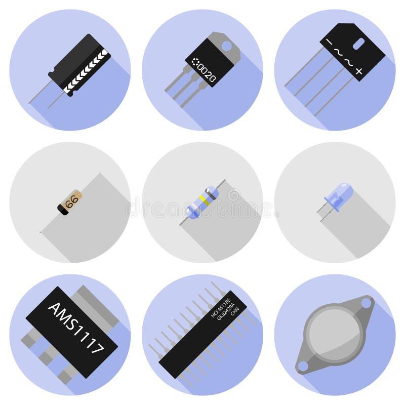 Διανυσματικά εικονίδια των ηλεκτρονικών συστατικών ελεύθερη απεικόνιση δικαιώματος