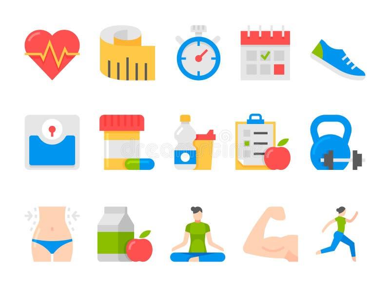 Διανυσματικά εικονίδια υγείας και αθλητισμού ικανότητας καθορισμένα απεικόνιση αποθεμάτων