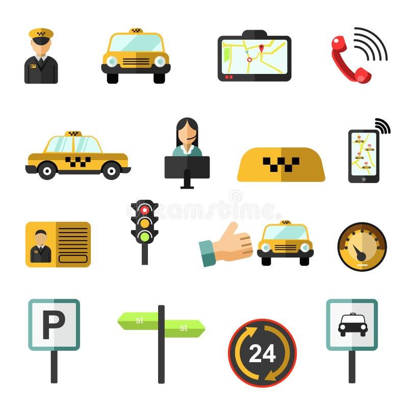 Διανυσματικά εικονίδια υπηρεσιών ταξί καθορισμένα απεικόνιση αποθεμάτων