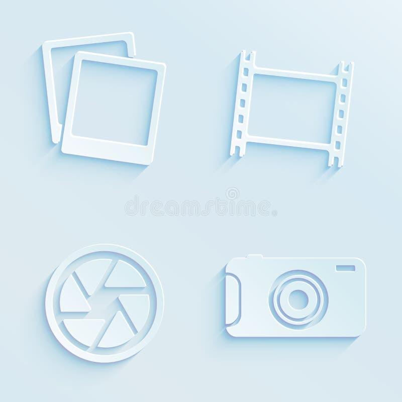 Διανυσματικά εικονίδια φωτογραφίας ύφους εγγράφου διανυσματική απεικόνιση