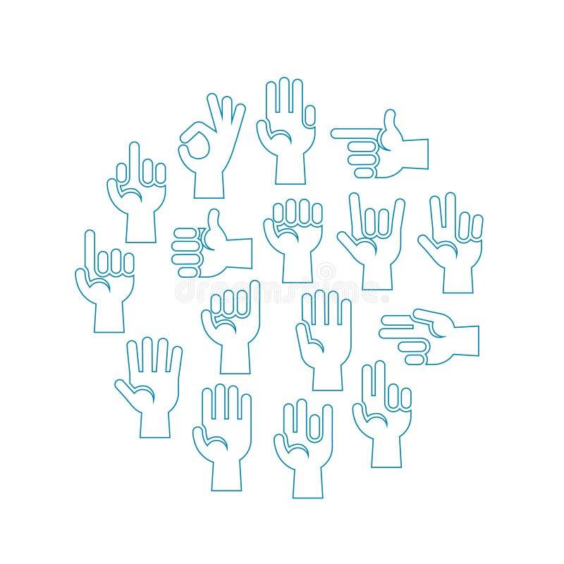 Διανυσματικά εικονίδια χειρονομιών χεριών που τίθενται σε έναν κύκλο διανυσματική απεικόνιση