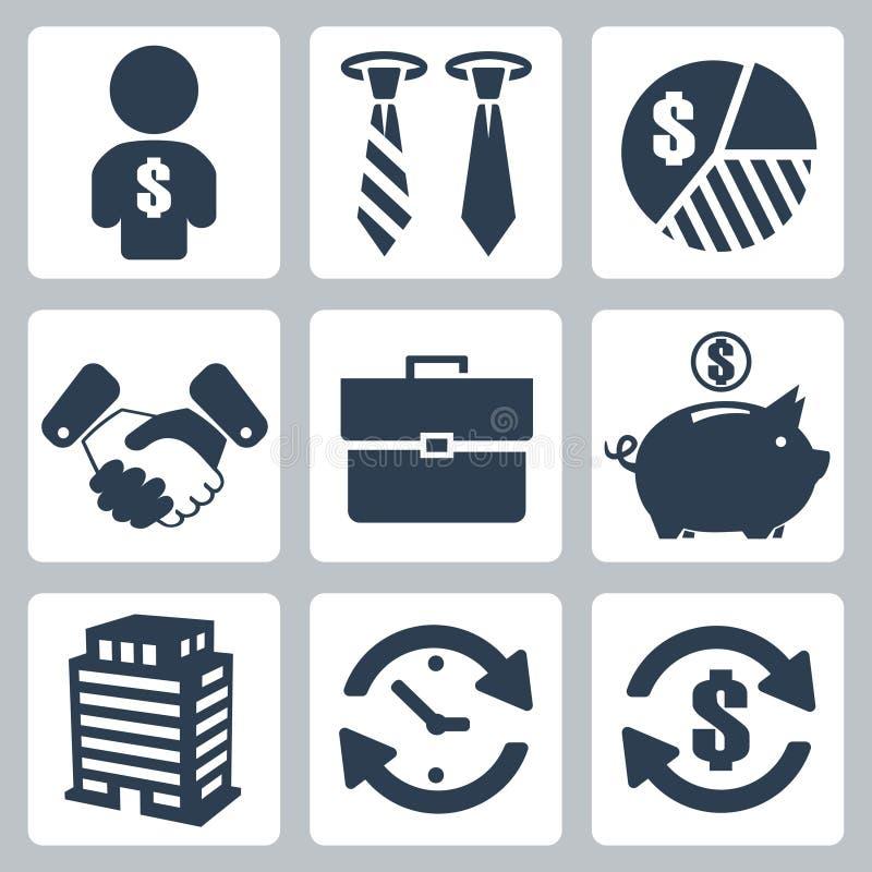 Διανυσματικά εικονίδια χρημάτων καθορισμένα διανυσματική απεικόνιση