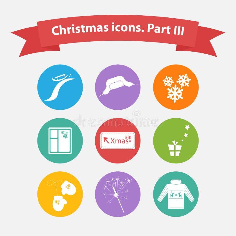 Διανυσματικά εικονίδια Χριστουγέννων σε ένα επίπεδο ύφος απεικόνιση αποθεμάτων
