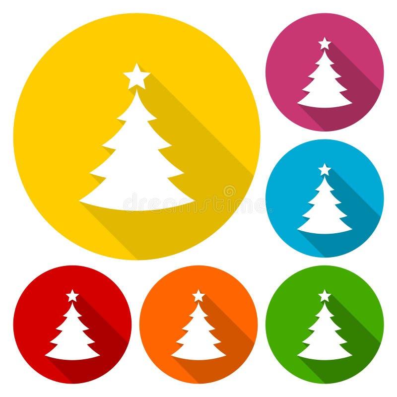 Διανυσματικά εικονίδια χριστουγεννιάτικων δέντρων που τίθενται με τη μακριά σκιά απεικόνιση αποθεμάτων