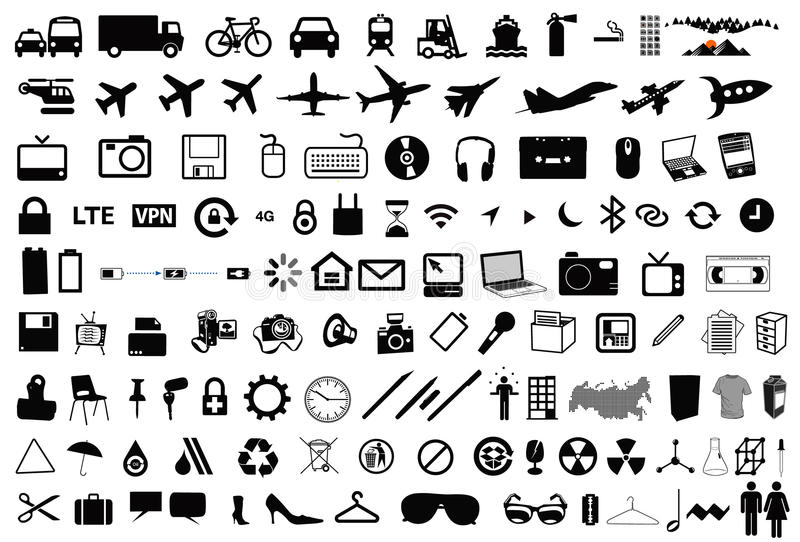 Διανυσματικά εικονογράμματα εικονιδίων αντικειμένων στοκ φωτογραφία με δικαίωμα ελεύθερης χρήσης