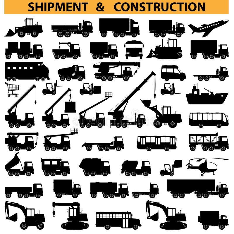 Διανυσματικά εικονογράμματα εμπορικών οχημάτων διανυσματική απεικόνιση