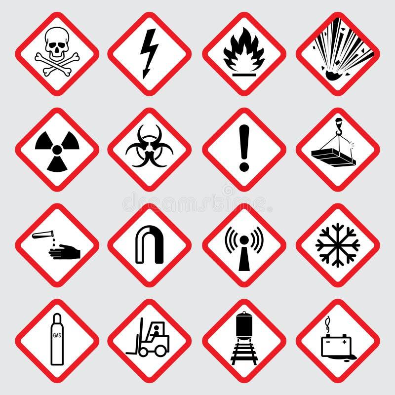 Διανυσματικά εικονογράμματα κινδύνου προειδοποίησης απεικόνιση αποθεμάτων