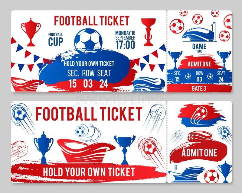 Διανυσματικά εισιτήρια του πρωταθλήματος φλυτζανιών ποδοσφαίρου ποδοσφαίρου ελεύθερη απεικόνιση δικαιώματος