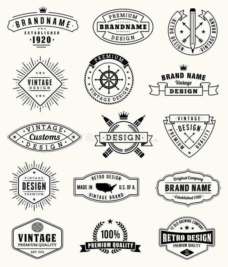Διανυσματικά εκλεκτής ποιότητας λογότυπα και insignas grunge απεικόνιση αποθεμάτων