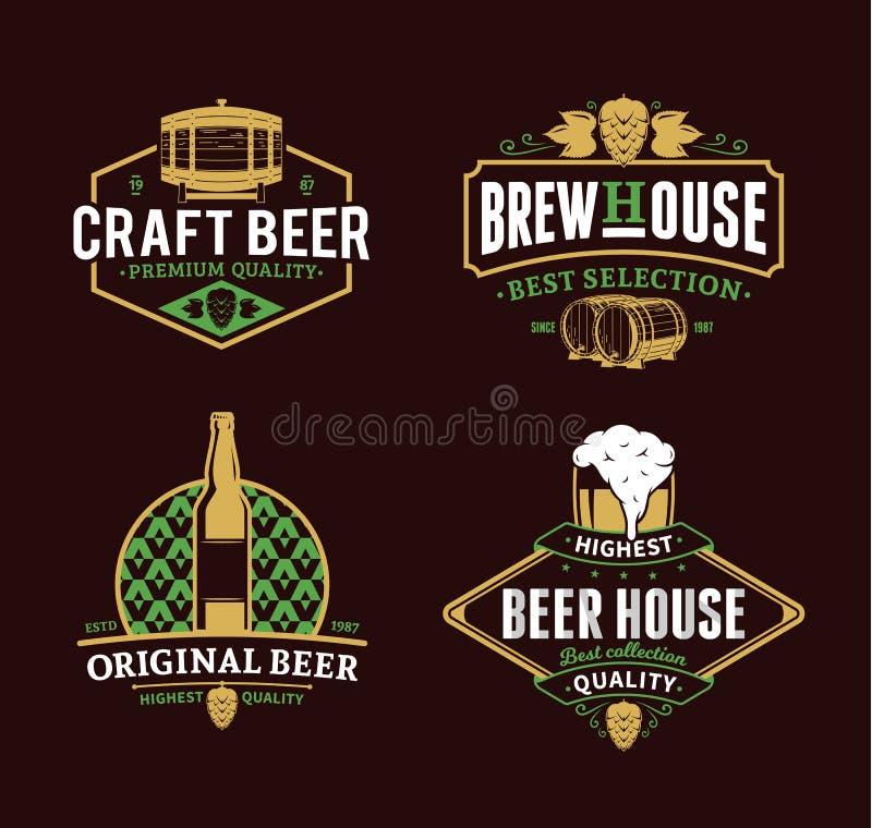 Διανυσματικά εκλεκτής ποιότητας λογότυπο μπύρας, εικονίδια και στοιχεία σχεδίου ελεύθερη απεικόνιση δικαιώματος
